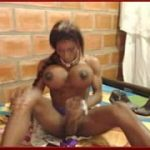 My Black Cam Tranny With Giant Tits Masturbates