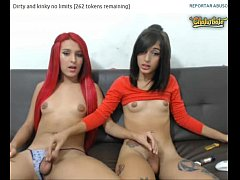 My Two Teen Shemale Girls Jerk Each Other Off On Cam