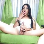 My Super Sexy Tattooed Shemale Eats Her Cum On Cam