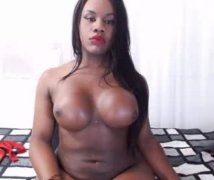 Big Breasted Black Shemale Girl Goes Topless On Live Cam
